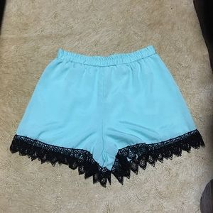 teal blue polyester shorts